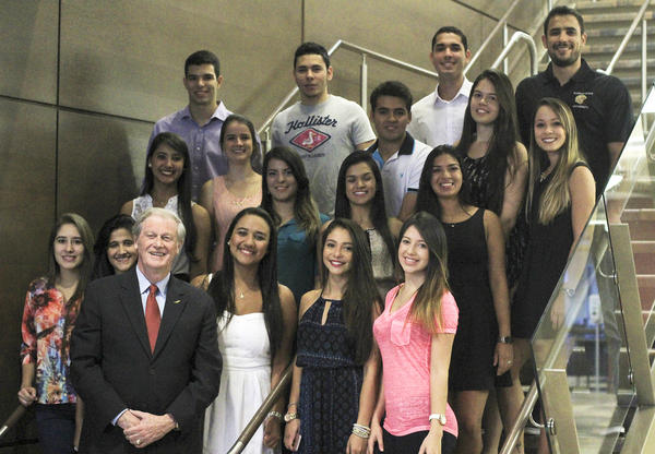 FSU President John Thrasher with Brazilian students participating in the Scientific Mobility Program.